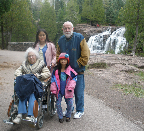 Mom Dad Sophia Olivia at Gooseberry Falls