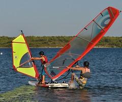 Tandem Windsurfing (njw28) Tags: boy yellow windsurfing tandem fornells 2010 minorca minorcasailing d300s
