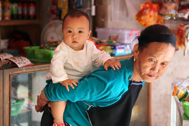 Baby and grandma in Chengyang, Guangxi, China