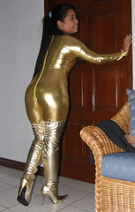Gold Buns (johnerly03) Tags: fashion asian gold boots philippines thigh filipina length catsuit zentai erly