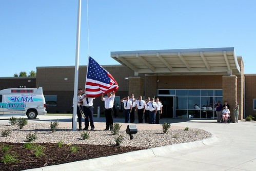 The Flag is raised in front of a new hospital in Missouri, funded with support from USDA Rural Development