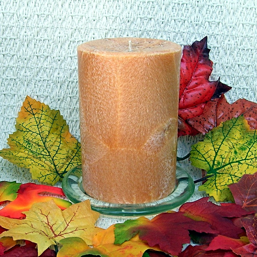 Amish Harvest scented handmade natural palm wax pillar candle unwrapped