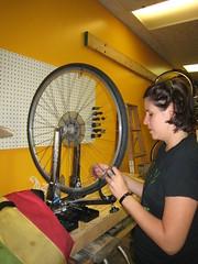 Grease Rag 9/16/2010 (Low) Tags: bike bicycle wheel free minneapolis grease rag mechanic mn adriane truingstand shopnight greaseragmpls womentransfemme