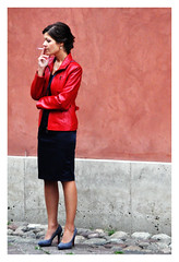 Red leather (Bob the Binman) Tags: girl female shoes pretty highheels cigarette poland kittens smoking attractive warsaw brunette smoker milf nikond90