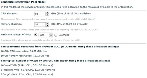 vmware vcloud director reservation pool