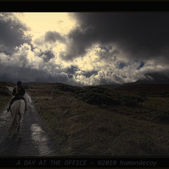 A Day at the Office (Explored) (Humandecoy - back) Tags: ireland bravo eire railwaytrack donegal ierland dunfanaghy ps4 1xp colorefex 1raw lirlande humandecoy olympuse30 mountmuckish semperdiatramproc dunfanaghystables therailwaystationman