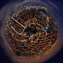 the dark side of planet fog (pbo31) Tags: world sanfrancisco california city longexposure summer sky urban orange black streets color northerncalifornia fog skyline night photoshop dark circle lights globe lowlight nikon downtown glow cityscape view traffic weekend over creative saturday september filter baybridge bayarea planet bernalheights missiondistrict create d200 polar stitched 2010 traffictrails lightstream sanfranciscocounty bernalhillpark polarfilter