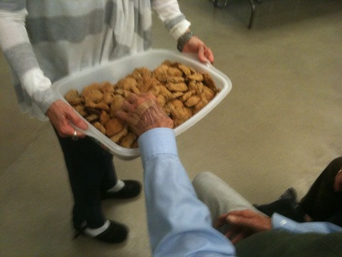 Arlie Middlebrook handing out chia cookies (tasty--needs chocolate). Chia = Salvia columbariae