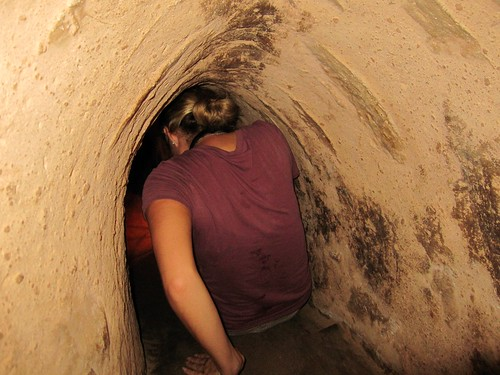 Cu Chi Underground Tunnels - So Small, Ash is on Her Butt