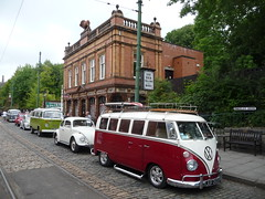 Crich Tramway Village Derbyshire (woodytyke) Tags: vw camper england english britain british uk united kingdom isles woodytyke rear engined engine air cooled german car auto vehicle motor motorcar wheel alloy glass light window door rally gathering 2010 parade street road volkswagen cobbles cobbled museum tram crich tramway village derbyshire beetle fender bumper tire tyre restored collector rail track type screen two tone colour chrome red windscreen national pub public house lion hotel showells brick tile stephen woodcock