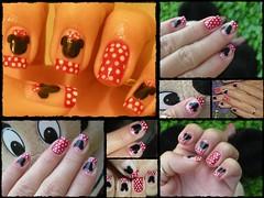 Unha da semana Minie (Mhilka ♥) Tags: art nail disney mickey dot vermelho bolinhas colorida unha minie francesinha