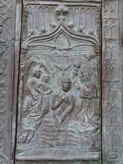 Baptism of Christ on on bronze doors of Santa Maria de Guadalupe (d0gwalker) Tags: bronze spain baptism monastery santamaria guadalupe ourladyofguadalupe extremadura johnthebaptist bronzedoor paolodecolonia
