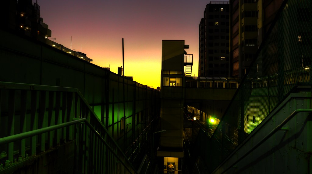 Apartment of a housing complex at dusk