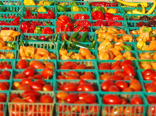 tomatoes and peppers ready for sale