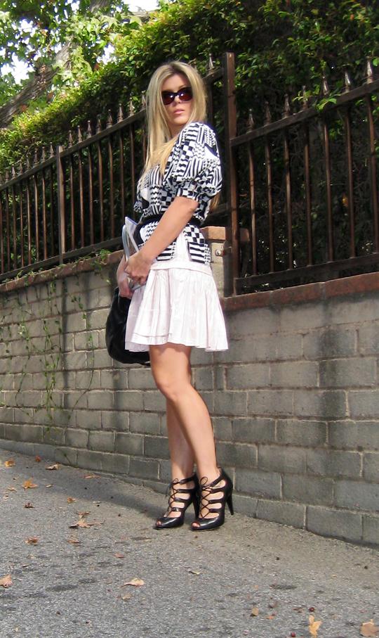 vintage Saks puff sleeve blouse+eryn brinie pink dress+boutique 9 shoes