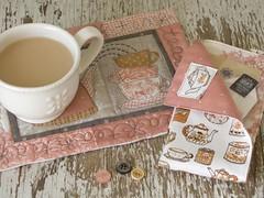 Mug Rug & Napkin (PatchworkPottery) Tags: tea handmade napkin mug quilted rug patchwork teacup coaster applique potholder mugrug