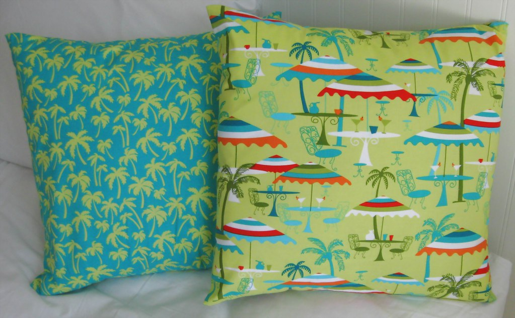 PILLOW COVERS- Beach Resort- Palm Trees- 18 x 18