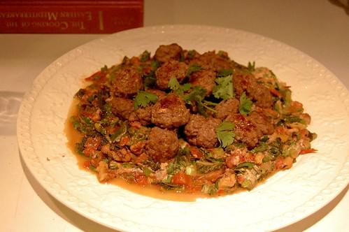swiss chard, tahini, meatballs