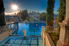 Neptune Pool (Ellen Yeates) Tags: california ca sunset vacation sky sun reflection castle public pool statue swimming canon ellen state mark iii william tourist calif deck architect flare sansimeon hearstcastle 1ds hearst hdr donate randolph manison yeates abigfave summset