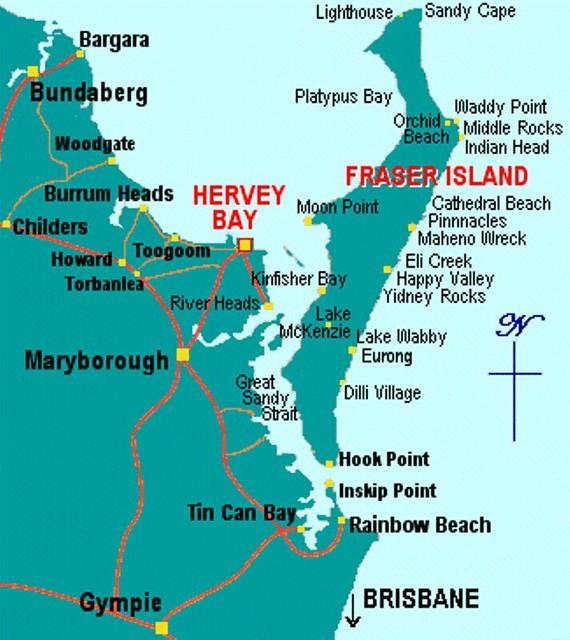 A044/Australia/Queensland South/Fraser Island map