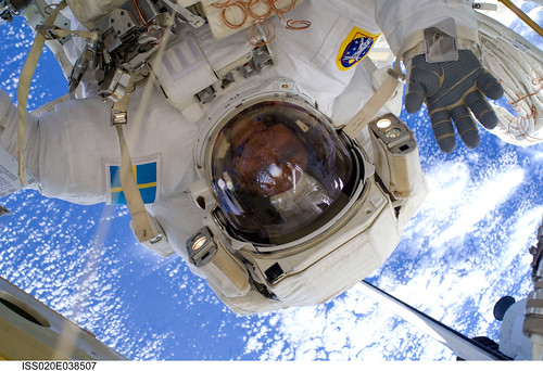 Christer Fuglesang during spacewalk