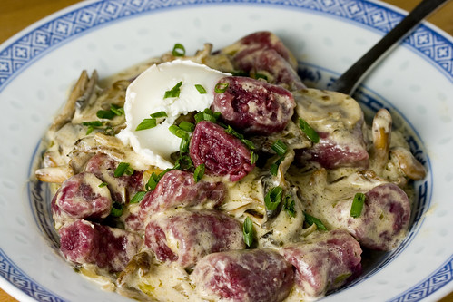 Beetroot Gnocchi with wild mushroom sauce1