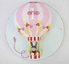 Eleni's Hot Air Balloon (Sweet Tiers) Tags: birthday pink bunny girl 3d balloon hotairballoon figurine