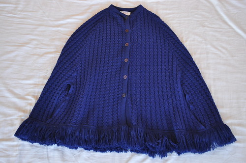 vintage navy knit poncho cape