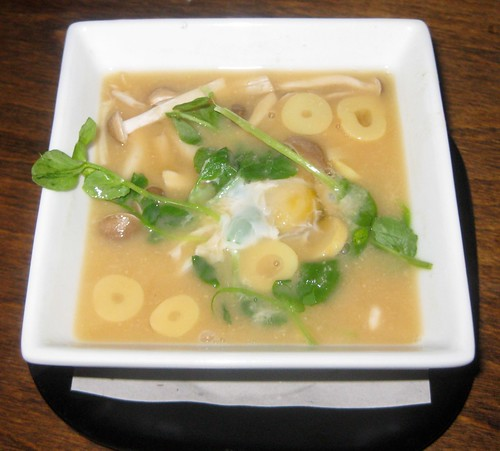 Miso vegetable soup with quail egg
