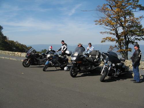 L-R Yamaha FJR1300, BMW F650CS, BMW K1200LT, HD Street Glide