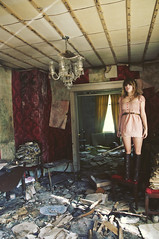 (yyellowbird) Tags: red wallpaper house abandoned girl illinois victorian livingroom chandelier cari standingonachair