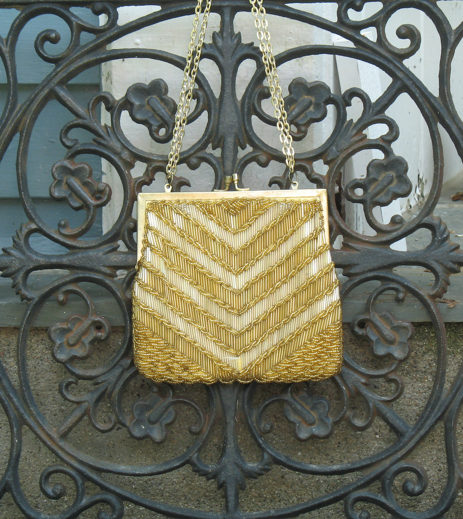 Vintage 1960s Walborg Formal Beaded Evening Bag Gold