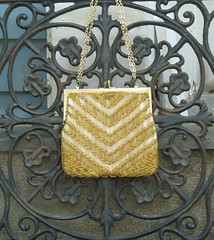 Vintage 1960s Walborg Formal Beaded Evening Bag Gold (Angel Grace Jewelry, Womens Belt Buckles, Snap On ) Tags: ladies white glass beautiful fashion vintage silver hongkong gold women 60s stripe formal convertible womens chain purse fancy strap bead glam clutch accessories 1960s collectible etsy elegant sparkly handbag chevron sparkling beaded pocketbook stylish glassbeads accessory shoulderbag madmen walborg goldtone eveningbag kissclasp angelgrace vintagetreasureangel