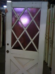 Dude! Purple glass crossbuck door, from rumpus room to garden