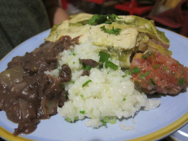 Potato Chickpea Enchiladas, Refried black beans, cilantro lime rice, and salsa - our Viva Vegan dinner party!