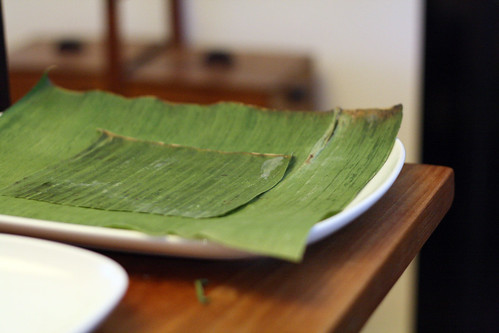 Preparing suman: banana leaf