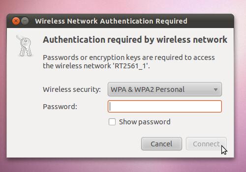 Figura 7 - Richiesta della chiave WPA di connessione alla rete wireless;