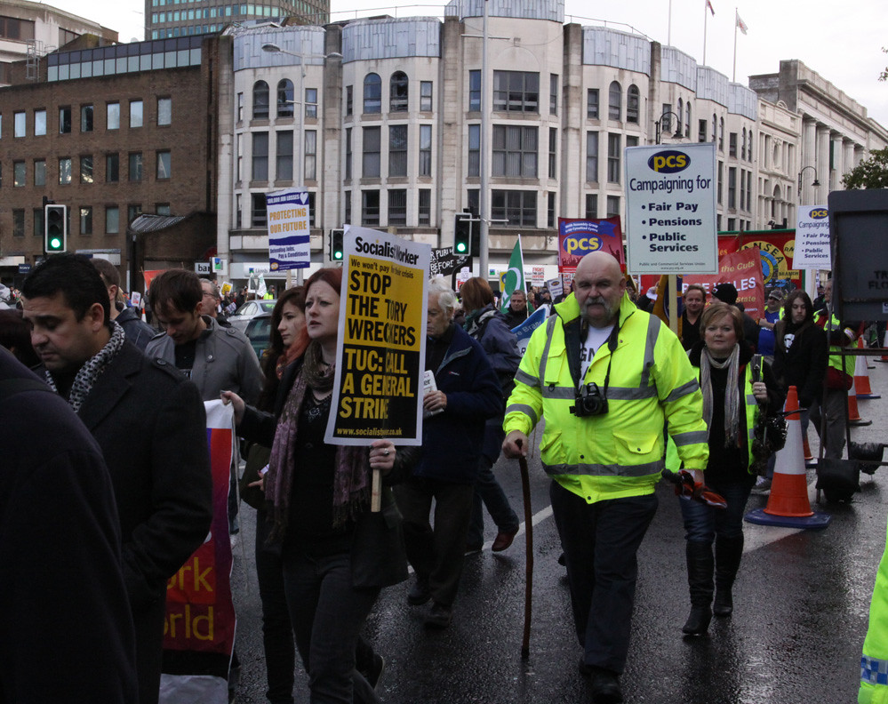Protesters march in Cardiff city centre against comprehensive spending review