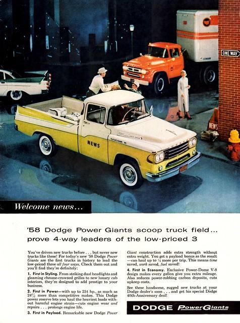 ad pickup 1958 dodge van tractortrailer sweptline
