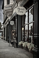 About Time , The Broken Spoke , Books  Port Townsend , Washington (janusz l) Tags: street old bw plants signs heritage water bike st washington store planters bikes books historic storefront oldfashion porttownsend almost stores bikeshop str janusz abouttime leszczynski thebrokenspoke 003220