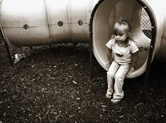 Lonely Playtime (Jason L. Parks) Tags: girl playground sepia sadness birmingham play sad alabama lonely playtime bessemer iphone4 iphoneography jasonlparks