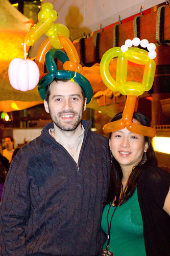 Lon and Jessica with balloon hats