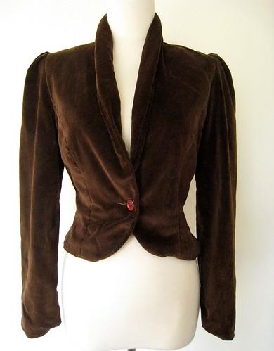 Chocolate Velvet Puff Sleeve VELVET Blazer, Vintage 70's