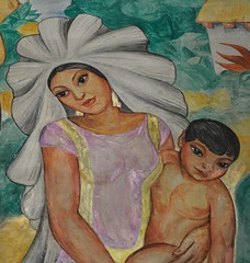 Mother and Child Oaxaca (Ilhuicamina) Tags: art mexico washington child paintings mother murals mexican oaxaca madre hijo tehuana
