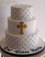 Buttercream Baptism Cake (Christina's Dessertery) Tags: blue boy white religious greek gold three cross navy diamond baptism quilting christening simple tier buttercream gumpaste christinajohnson dragees creativecakedesigns