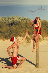 Merry Christmas from Oz pinup style (eweliyi) Tags: santa christmas beach oz australia perth pinup christmascard 365travelmemories