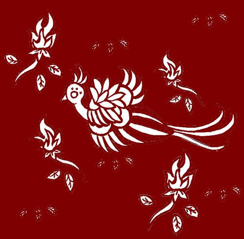 phoenix print red