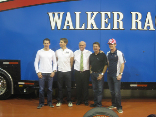 Simon Pagenaud, Will Power, Derrick Walker, Scott Goodyear and Dan Clarke at the Walker Racing open house
