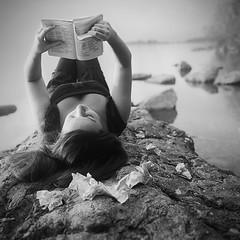 Maria, Salinger and her lake (Naumoski) Tags: white black 120 6x6 film beach girl rock stone rolleiflex paper square gray books rye catcher autaut photostorry