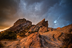 on the nature of daylight. (dearsomeone) Tags: california sky storm nature clouds landscape outdoors losangeles desert cloudy landmark hdr formations naturalarea aguadulce vasquezrocks countypark skysunset